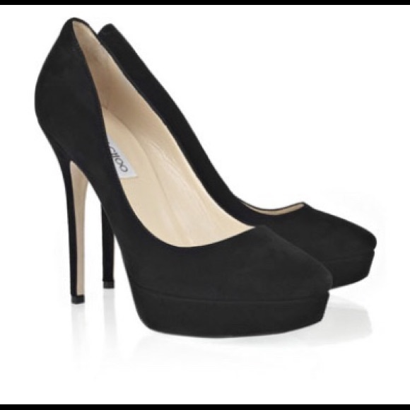72feadf94dc9 Jimmy Choo Shoes - Jimmy Choo Black Suede Platform Heels - Size 37.5